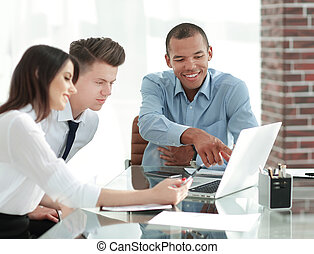 client, conversation, employés, bureau, séance