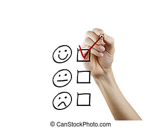 client, dessiné, questionnaire, service, main