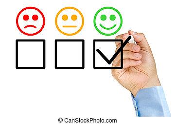 client, formulaire, service, main, mettre, évaluation, chèque