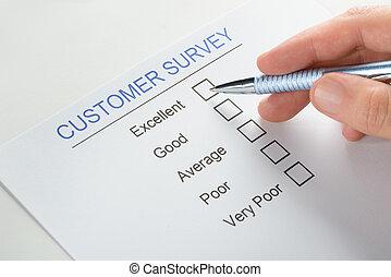 client, formulaire, sur, main, personne, stylo, enquête