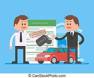 client, heureux, illustration., clés, voiture, sur, revendeur, vecteur, concept., automobile, main, prêt, achat, approuvé