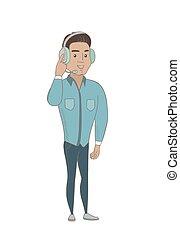 client, hispanique, opérateur, headset., service