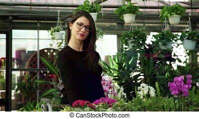client, magasin, achats, appareil photo, fleuriste, sourire, fleurs, achat