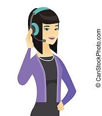 client, opérateur, headset., asiatique, service