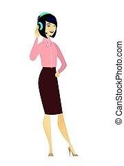 client, opérateur, headset., service