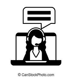 client, opérateur, service, écran, écouteurs, ordinateur portable, femme