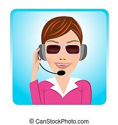 client, opérateur, soutien, lunettes