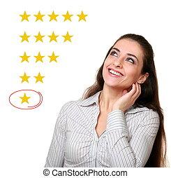 client, option., femme, étoile, réaction, une, mauvais, choisir