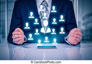 client, segmentation, ressources, concepts., commercialisation, gérer, agence, employés, team., sien, humain, soin, assurance, emploi, éditorial, soin