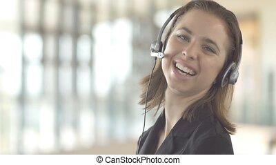 client, sourire, appeler, servic, centre