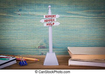 client, support., bois, poteau indicateur, aide, soutien, table, conseil