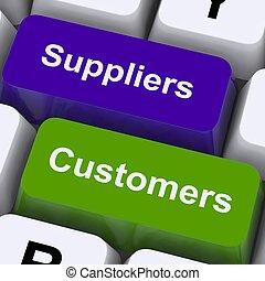 clients, chaîne, exposition, clés, suppliers, fourniture, distribution, ou