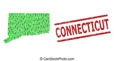 clients, connecticut, mosaïque, impression, textured, état vert, dollar, timbre, carte
