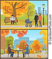 clients, couple, parc, automne, vecteur, café