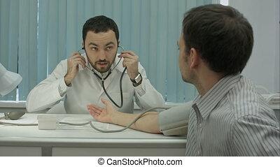 clients, mesure, pression, barbu, docteur, clinique, mâle