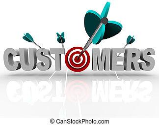clients, succès, cible, -, flèches, mot