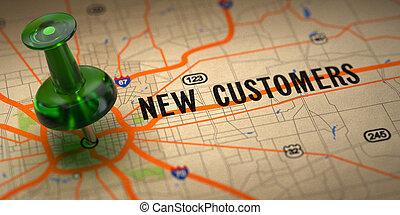 clients, -, vert, arrière-plan., pushpin, carte, nouveau