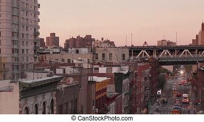 clignotant, aerial:, lumières, voiture rue, ville, lettres, chinatown, chinois, police, new york, scénique, asiatique