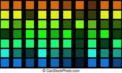 clignotant, carrés, bleu, vert