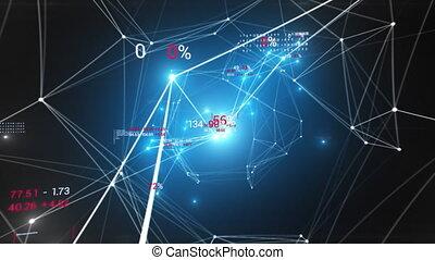 clignotant, clair, 4k, 3840x2160, business, chiffres, croissant, économie, lights., fait boucle, réseau, concept., animation, ultra, hd, 3d, résumé, style, seamless., bleu, texte, cyberespace