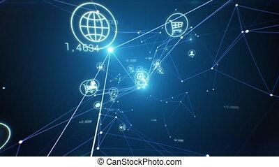 clignotant, links., seamless., 3840x2160, croissant, lights., écoulement, logiciel, icônes, cyberespace, 3d, numérique, e-affaires, résumé, animation, réseau, concept., fait boucle, 4k, ultra, hd, beau