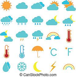 climat, icônes, couleur, temps, fond, blanc