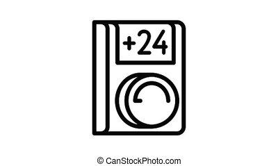 climatiseur, éloigné, animation, icône, contrôle