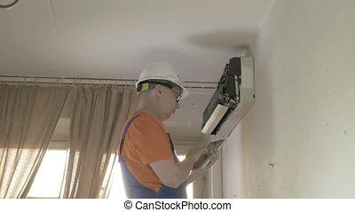 climatiseur, propre, homme, air, service