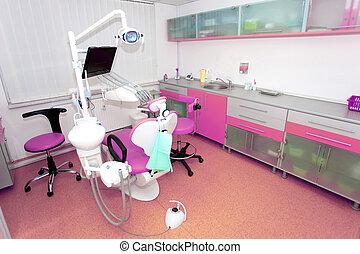clinique, chaise, outils dentaires, conception, intérieur