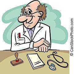 clinique, dessin animé, illustration, docteur