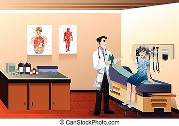 clinique, docteur, patient