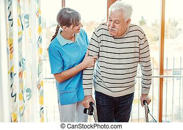 clinique, personne âgée homme, portion, infirmière, cadre promenade