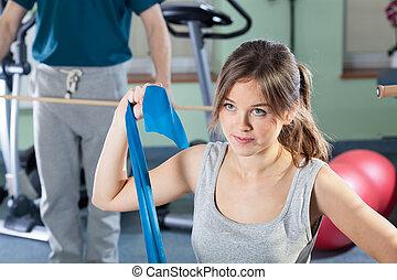 clinique, physiothérapie, fille exercer