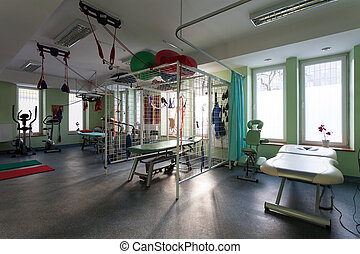 clinique, salle, physiothérapie, rééducation
