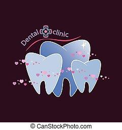 clinique, vecteur, dentaire, illustration, logotype