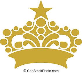 clipart, diadème, vecteur, couronne or