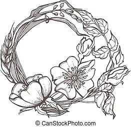 clipart, rose, cadre, chien, arrière-plan., vecteur, sauvage, fleurs blanches, dessin