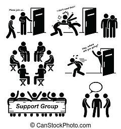 cliparts, groupe, soutien, réunion