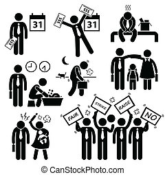 cliparts, ouvrier, problème, financier
