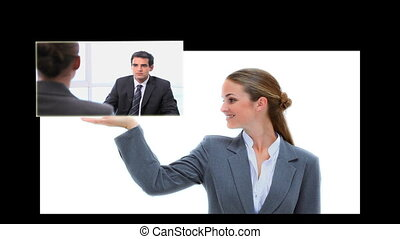 clips, v, présentation, femme affaires