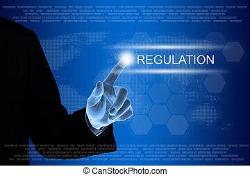 cliqueter, business, toucher, règlement, écran, main, bouton