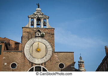 cloche, cadran solaire, tour, italie, venise