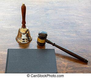 cloche, space., gavel bois, juge, copie, enchère, fond