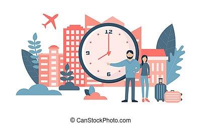 clock., ensemble, voyage, concept., grand, personnes, heureux, classique, couple