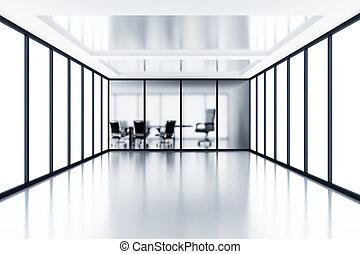 cloison, salle, réunion, moderne, verre, derrière, box, vide