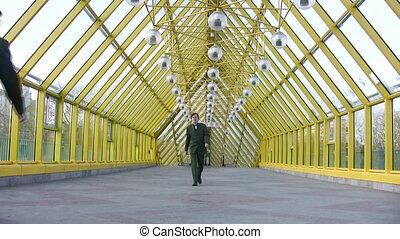 clones, pont, hommes affaires, marcher
