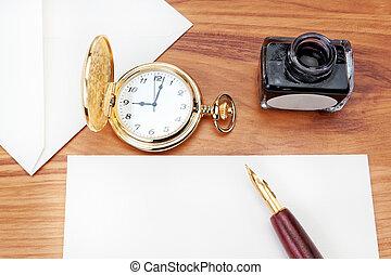 close-up., havane, préparer, cigar., écrire, lettre