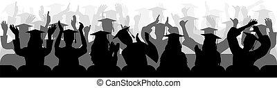 close-up., silhouettes, gai, séance, vecteur, chaise, applaudir, diplômés, illustration.