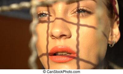 closeup, beauté, visage femme