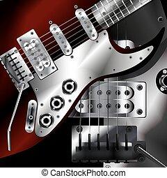 closeup, couleurs sombres, guitare, électrique